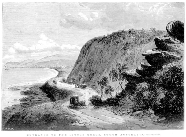 Entrance to the Little Gorge, looking towards Normanville, from the Illustrated Australian News, 20 May 1871, p. 97